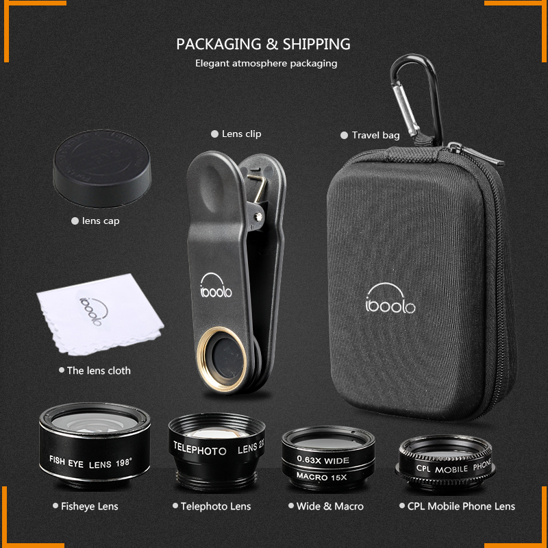 2017 IBOOLO professional wide angle telephoto CPL fish eye macro lens kit for smartphone