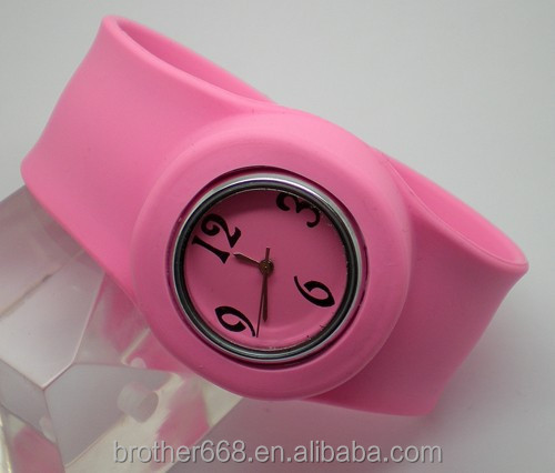 Cheap Price Cool Fashion Pink Silicone Slap Watch for Kids