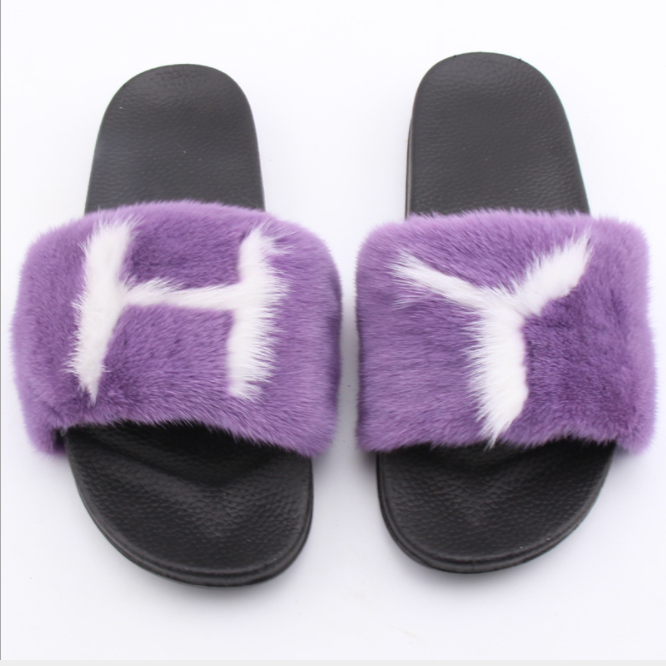Alibaba wholesale custom popular colorful letter design real mink fur <strong>slides</strong> for ladies