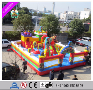 outdoor inflatable cartoon jump house with slide inflatable bear bouncy castle for sale