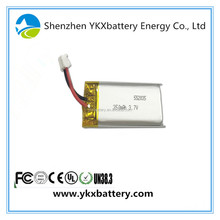 Prismatic Square 1.11wh Rechargeable li-ion li ion lipo 3.7v 300mAh 350mah 552035 lithium polymer camera battery packs