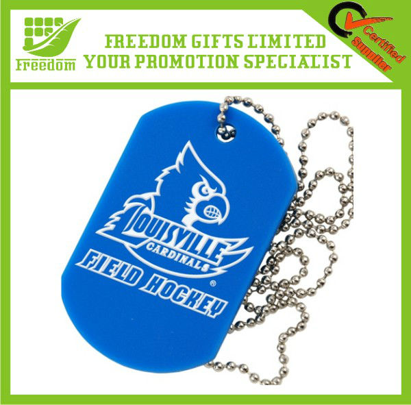 Hot Sale Silicone Dog Tag With Ball Chain
