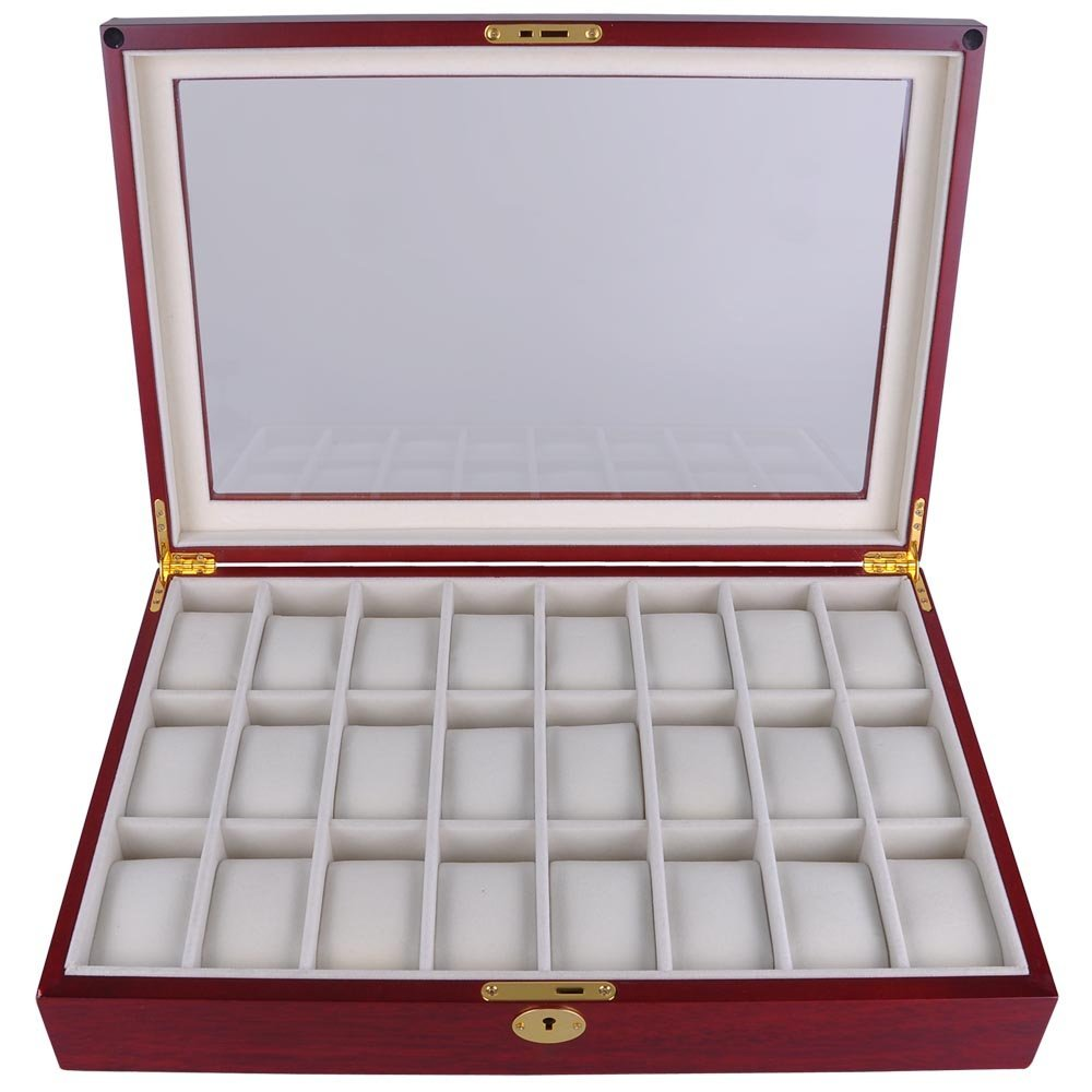"Store Home Travel Of 17"" L Jewelry Box Lock Wooden Glass Top 24 Watch Display Case"
