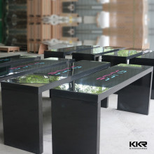 Solid surface white high gloss bar table