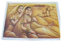 Rajasthani Women With Camels Canvas Painting