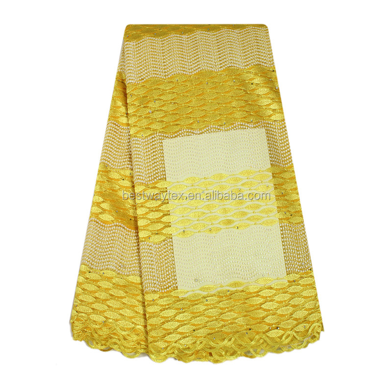 Wholesale 2017 New Gold Yellow French Lace Fabric For Wedding