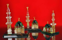 High Quality 24k Gold Plated Crystal Al Masjid Model For Islamic Crafts