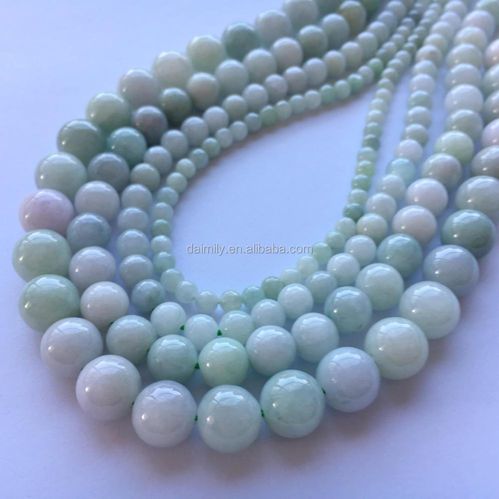 Natural Jadeite Round Gemstone Bead Semiprecious Stone Jewelry