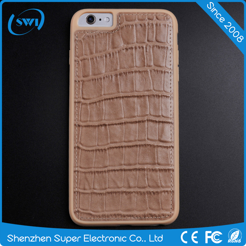 aliexpress hot selling Luxury Genuine Leather of crocodile back cover leather gloss case for <strong>iphone</strong> 6/6s
