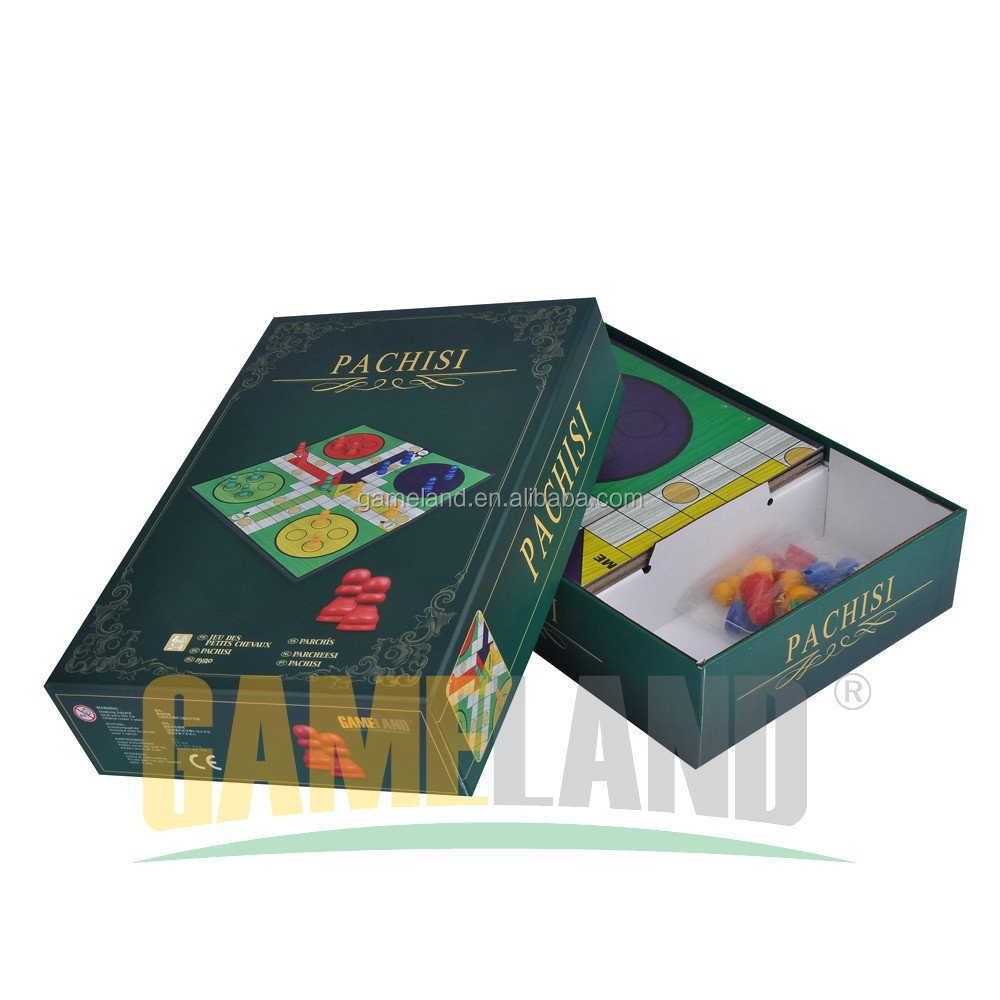 Classic Family Game Pachisi Board Game With 16 Colored Wood Playing Pieces