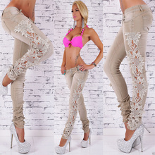 Sexy Latest Design Denim Beige Skinny Jeans Crochet Lace Party Jeans Pants for Women