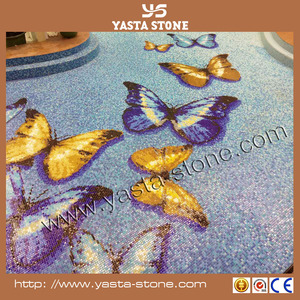 Mixed color Butterfly glass mosaic for swimming pool tile