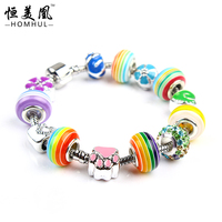 Colorful beaded bracelet stainless steel jewelry murano glass beads bracelet