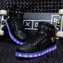 7 Colors LED Luminous high top LED Shoes Adults USB Charging Lights Shoes for Party