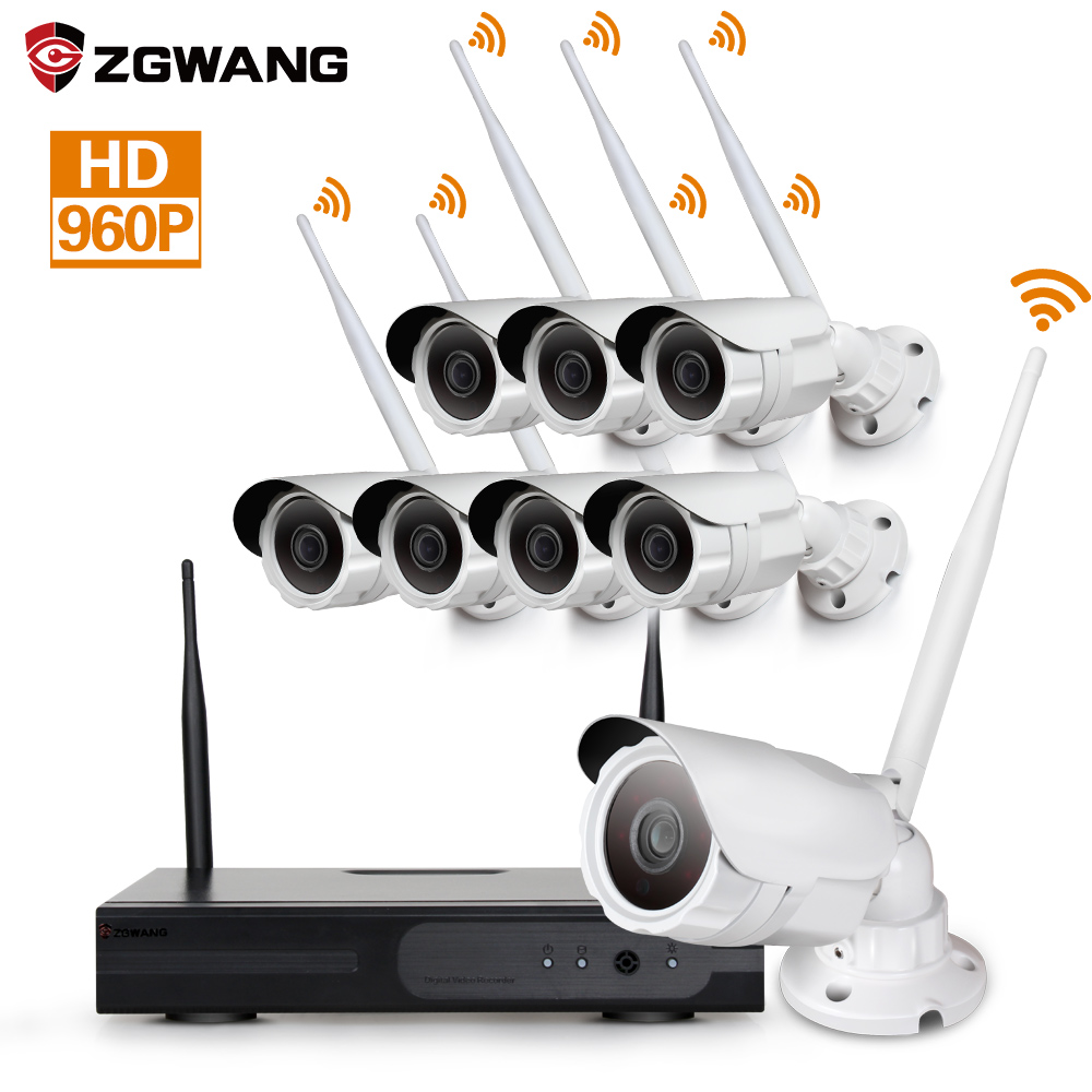 8CH 1.3MP HD wireless NVR kit outdoor security cctv ip camera system