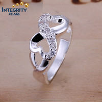 latest design fashion zircon ladies silver plated heart wedding ring