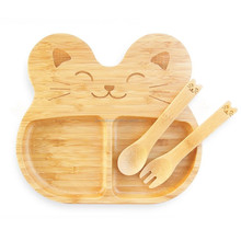 Natural Bamboo Cat Children Baby Infant Feeding Kids Dish Set