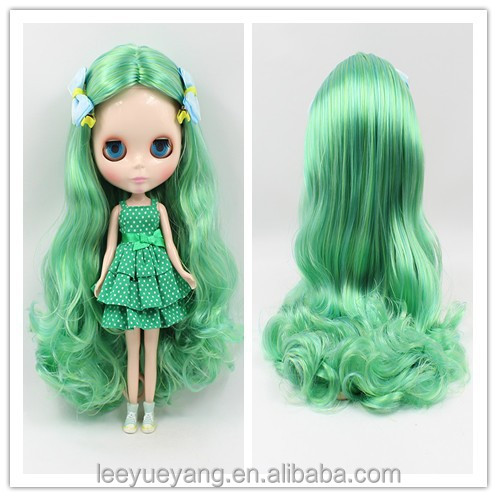 Hot Sales Green Yellow Blended Loose Wavy Neo Blythe Doll Wigs Pullip Heat Resistant Hair
