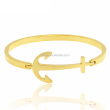 fashion jewelry design anchor cuff bracelet high quality 24k yellow gold plated bangle
