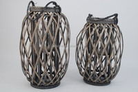 Indoor &ourdoor willow lantern ,candle holder with glass rope handle wicker candle holder