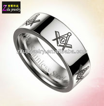 Wholesale shiny finish silver titanium masonic rings (ELBR0453)
