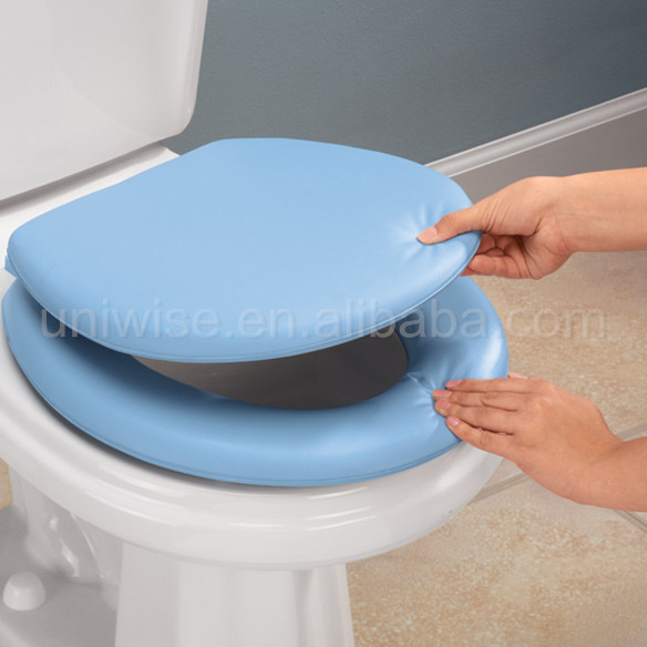 Padded toilet seat lid, Cheap price round PVC soft toilet seat cover,Padded toilet seat cover