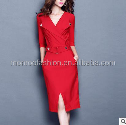 monroo European style women deep v neck ress