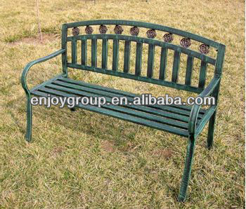 steel tubular two person chair park bench 3seat