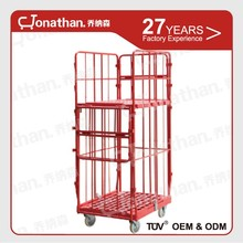 Heavy duty foldable large storage steel rolling cage cart