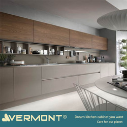 2018 Hangzhou Vermont High End Custom Italian Modern Wood Grain Modular Plywood Kitchen Cabinet Color Combinations