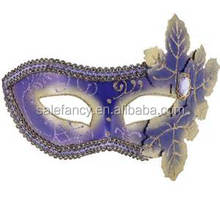 Purple venetian mask wholesale venetian masquerade mask With Leaves Eye Halloween Mask QMAK-2040