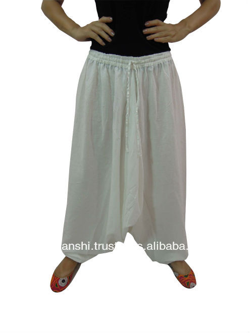 White MENS COTTON HAREM PANT TROUSER FISHERMAN BAGGY Loose YOGA BOHO Rope GYPSY PANTS