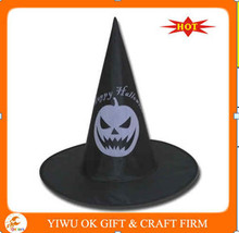 halloween witch hat with pumpkin design printed