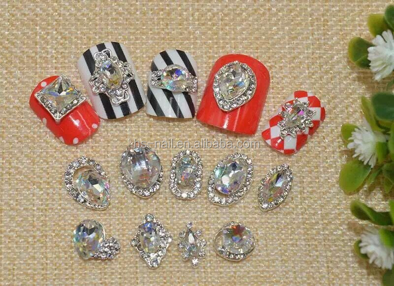 2015 luxury metal with shiny laser stone for nail art decoration