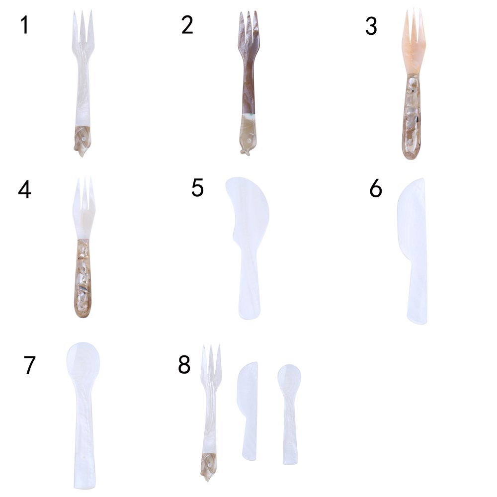 Natural 15cm Fish Shape Mother Of Pearl Shell Fork