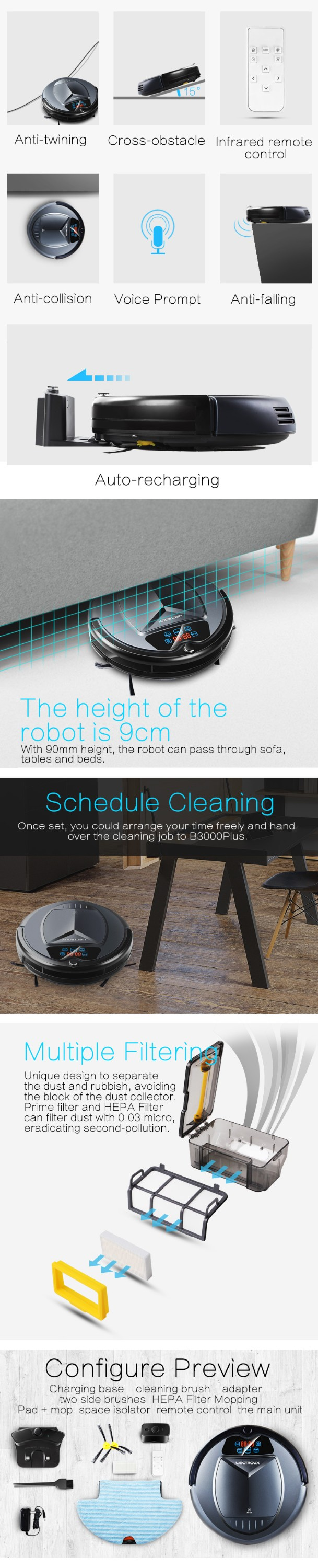 Robot Carpet Cleaner Multifunctional Wet and Dry B3000PLUS