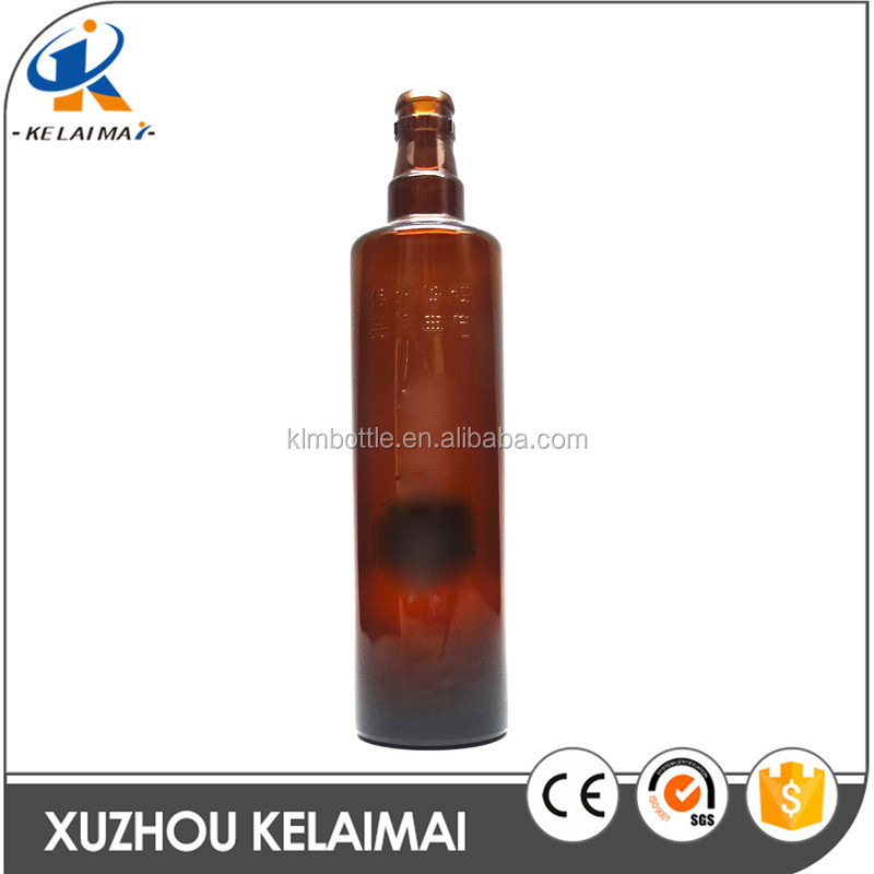 520ml Amber round shape wine glass bottle with Stopper lid