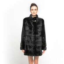 QD70787 Sexy Woman Wear Fashionable Genuine Black Cross Whole Mink Fur Coat on Alibaba China Sales