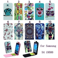 New Arrived Cross Texture Vertical Flip Magnetic TPU+PU Leather Case for Samsung Galaxy S4 I9500
