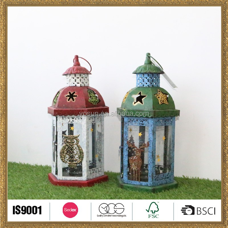 festival deer and owl Christmas snowing lamp lantern home decor