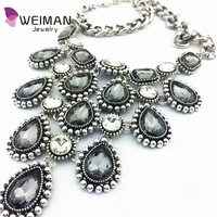 Women Flower Charm Crystal Gems Choker Hot Statement Bib Collar Necklace 1LYP