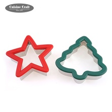 Multi-제안한다 LFGB/FDA Food 급 Silicone Christmas Tree 및 스타 (energy star) cookie cutter set