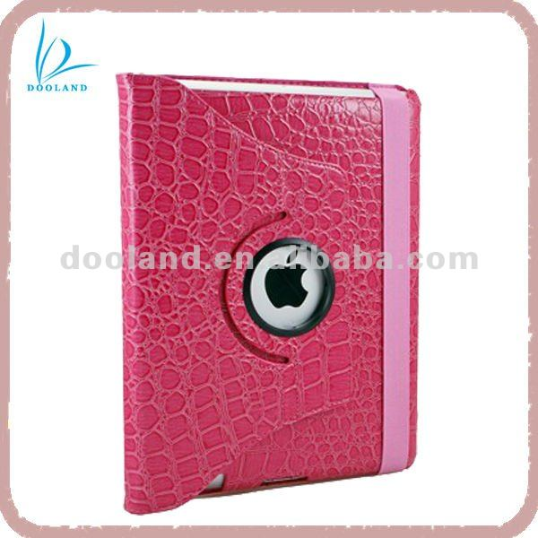 Peach Red Crocodile 360 degree Rotation leather case for iPad Cover