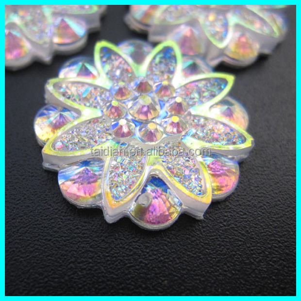 Round Flower sew on flat back acrylic rhinestones
