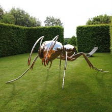 Insect Theme Garden Metal Craft Stainless Steel Big Ant Sculpture by Mirror Polishing