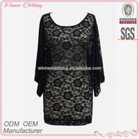 lady sexy lace dress/round neck batwing sleeve see-through long lace evening dress