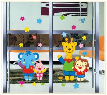Fashion Kids Cartoon Waterproof Glass Wall Sticker