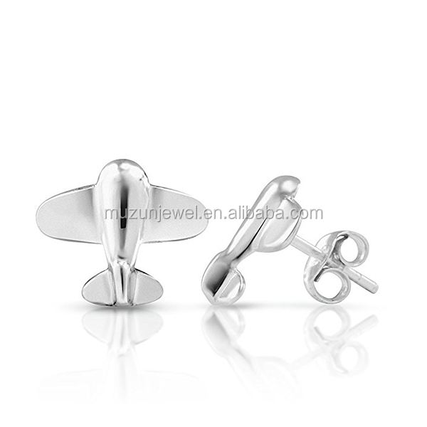 Tiny Aeroplane Airplane Post Earrings 925 Sterling Silver Stud Earrings