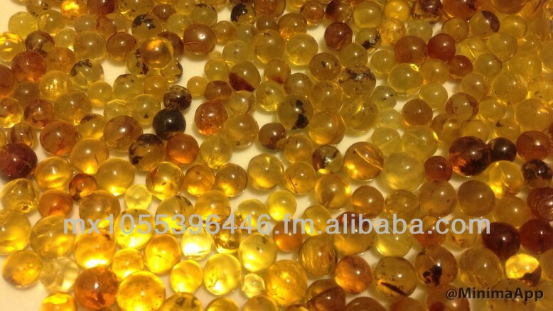 Mexican amber spheres, balls, unperforated beads