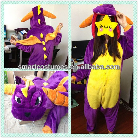 Hot selling animal onesie thermal flannel anime spyro the dragon pajamas